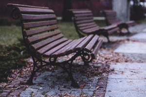 Park benches deserted by Covid-19